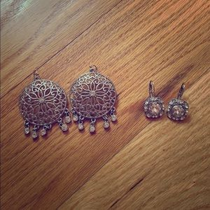 Two pairs of costume jewelry earrings